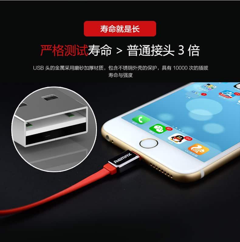 สายชาร์จ remax Safe&Speed data cable lightningสายแบน หอม สำหรับ IPhone 17