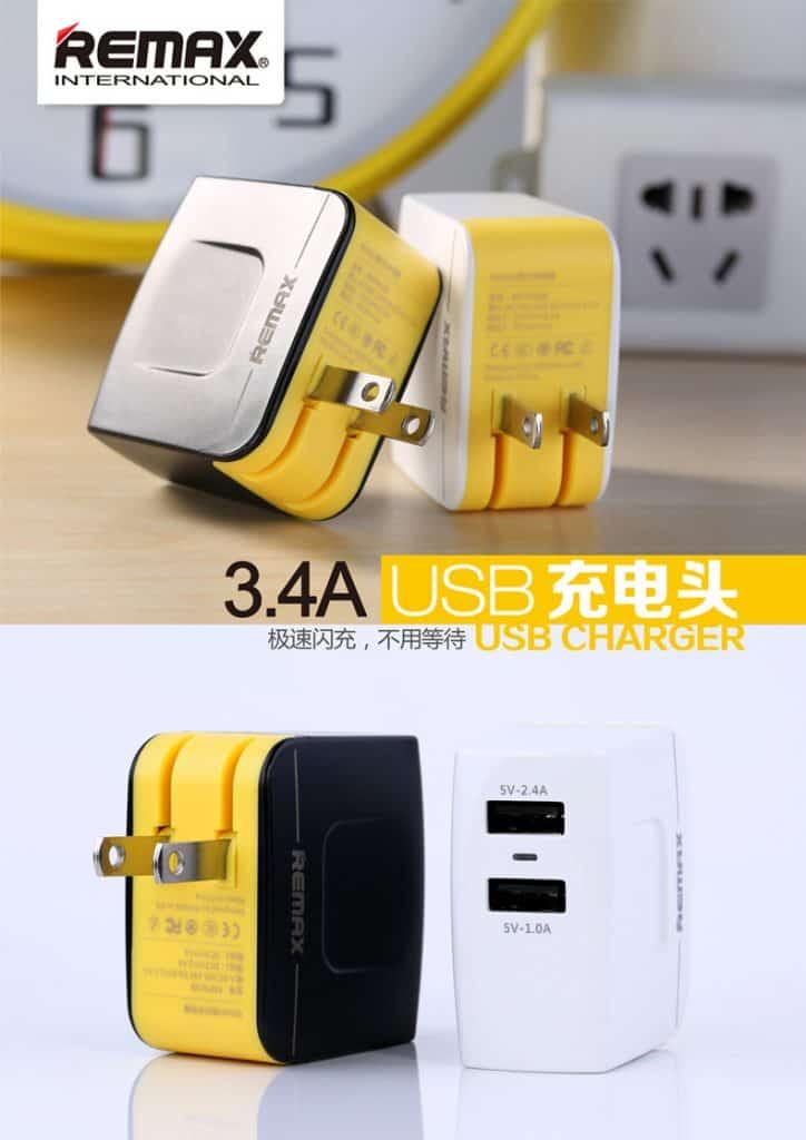 หัวชาร์จ Remax USB Charger 3.4A 2 ช่องชาร์จ รองรับมือถือทุกรุ่น 6