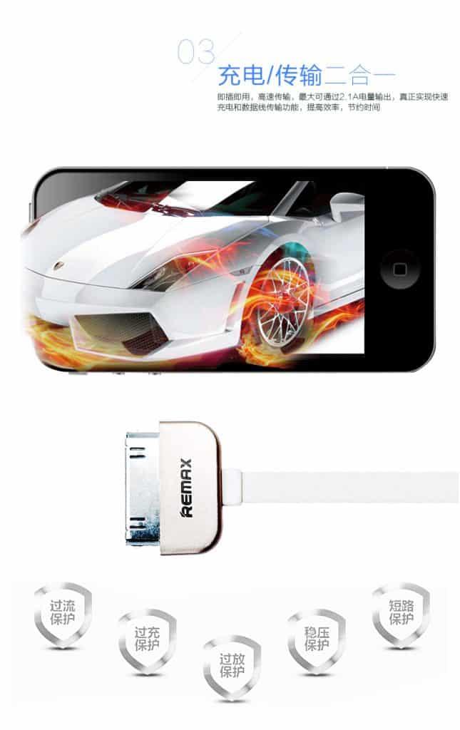 สายชาร์จ Remax Safe&Speed iPhone 4-4S 3