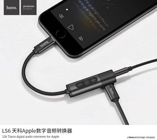 Lightning to Male 3.5 MM Audi And Charging Hoco LS6 Tonco digital Audio converter fot Apple 7