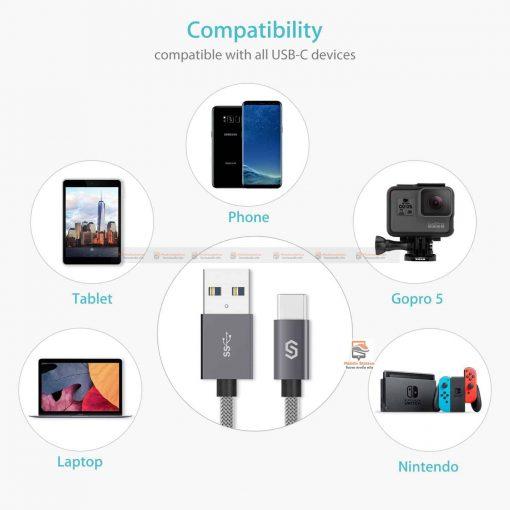 สายชาร์จ Syncwire USB Type C Cable Devices: Apple New Macbook, ChromeBook Google Pixel, Samsung Galaxy S8/S8+, Pixel C, Nexus 5X / 6P, OnePlus 2/3T, HTC 10/U11, Sony Xperia XZ, Lumia 950 / 950XL, LG G5, Asus Zen AiO, Lenovo Zuk Z1, HP Pavilion X2, ASUS ZenPad S 8.0, New Nokia N1 tablet, Nintendo Switch, GoPro5 7