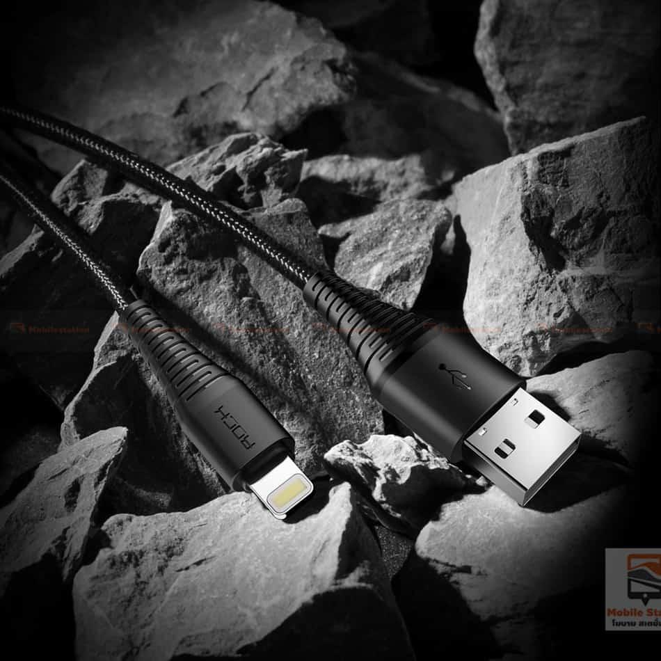 สายชาร์จไอโฟน ROCK 2.1A Hi-Tensile Data Sync USB Cable for iPhone X, 8, 8 Plus, 7, 7 Plus, 6s, 6s,5-10