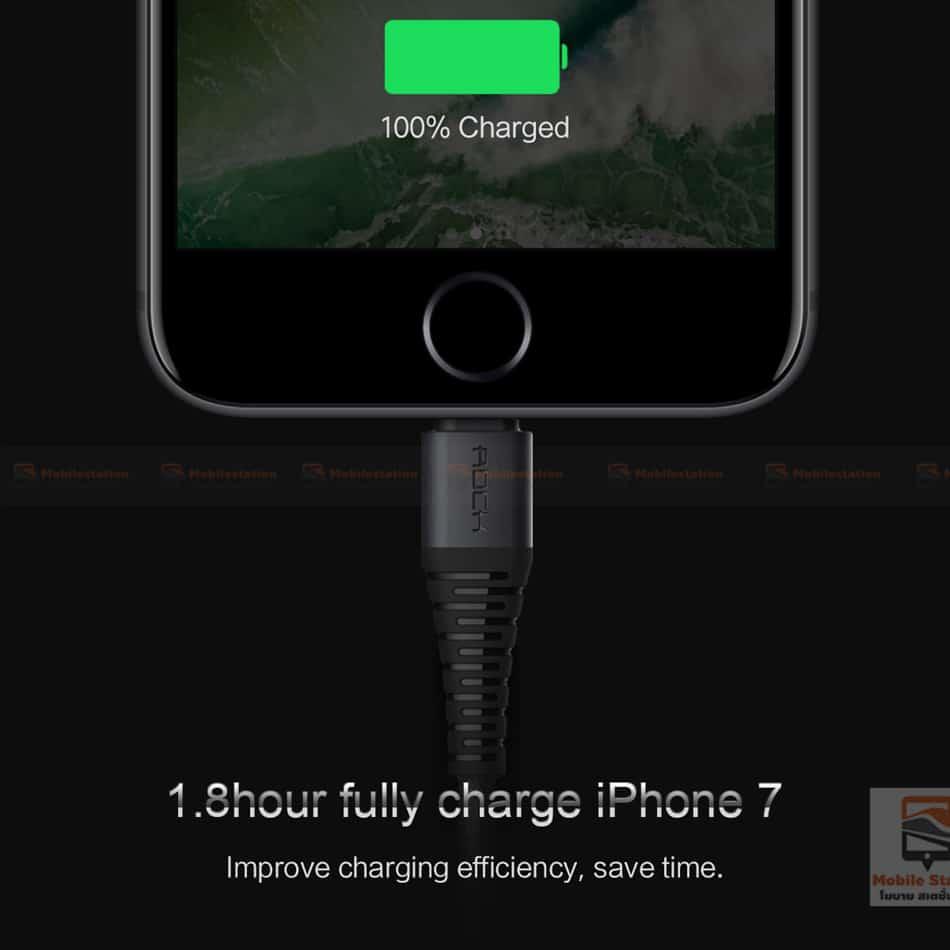 สายชาร์จไอโฟน ROCK 2.1A Hi-Tensile Data Sync USB Cable for iPhone X, 8, 8 Plus, 7, 7 Plus, 6s, 6s,5-19