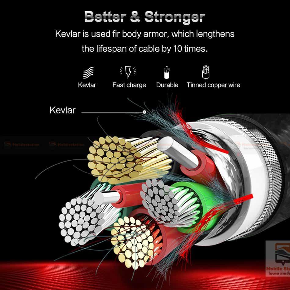 สายชาร์จไอโฟน ROCK 2.1A Hi-Tensile Data Sync USB Cable for iPhone X, 8, 8 Plus, 7, 7 Plus, 6s, 6s,5-20