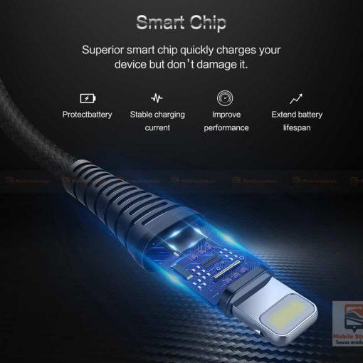 สายชาร์จไอโฟน ROCK 2.1A Hi-Tensile Data Sync USB Cable for iPhone X, 8, 8 Plus, 7, 7 Plus, 6s, 6s,5-4