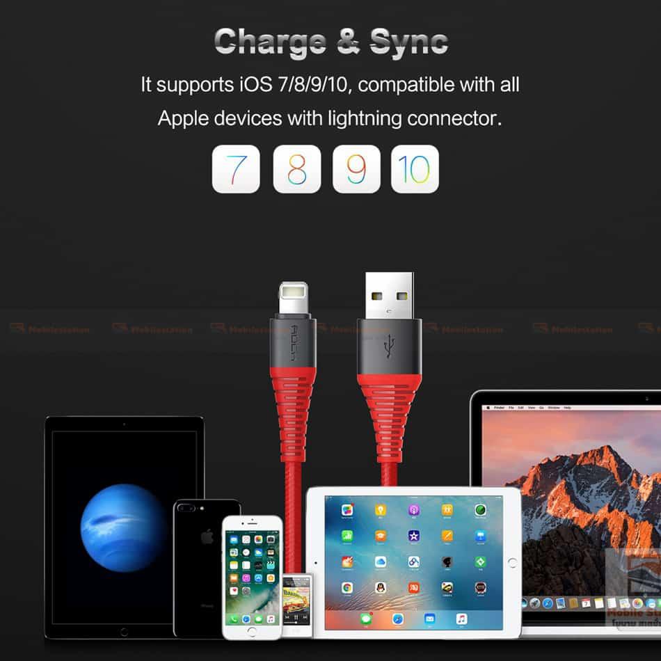 สายชาร์จไอโฟน ROCK 2.1A Hi-Tensile Data Sync USB Cable for iPhone X, 8, 8 Plus, 7, 7 Plus, 6s, 6s,5-5
