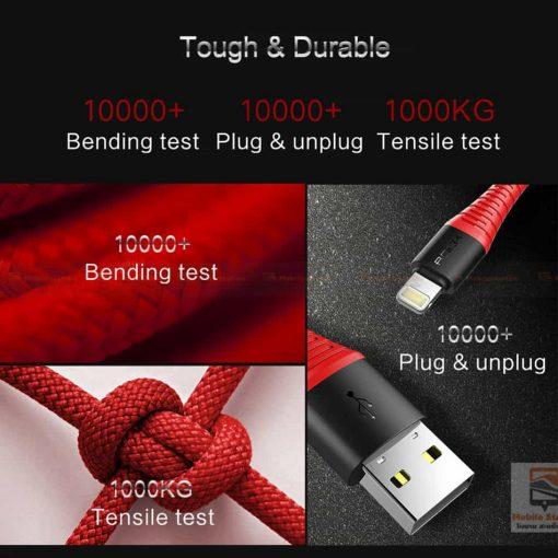 สายชาร์จไอโฟน ROCK 2.1A Hi-Tensile Data Sync USB Cable for iPhone X, 8, 8 Plus, 7, 7 Plus, 6s, 6s,5-9