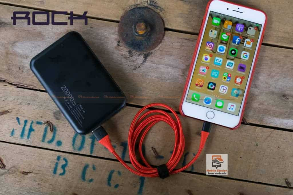 สายชาร์จไอโฟน ROCK 2.1A Hi-Tensile Data Sync USB Cable for iPhone X, 8, 8 Plus, 7, 7 Plus, 6s, 6s,5 รูปสินค้าจริง 10