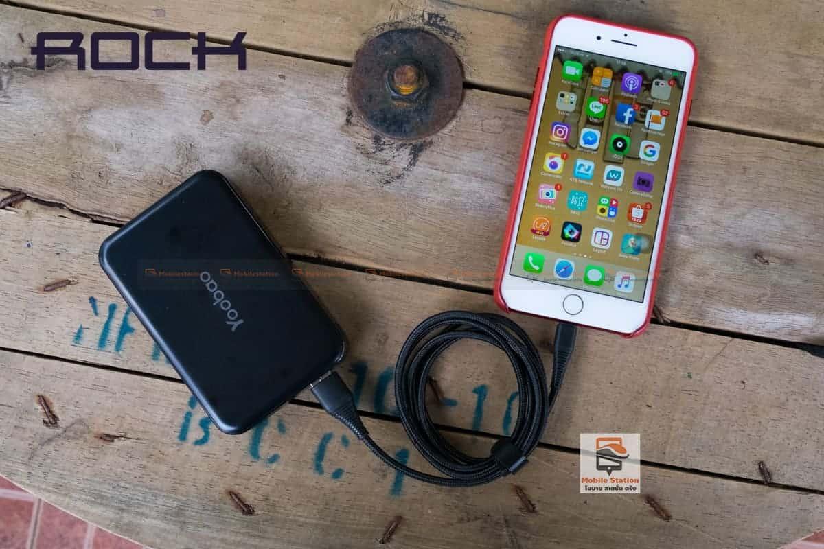 สายชาร์จไอโฟน ROCK 2.1A Hi-Tensile Data Sync USB Cable for iPhone X, 8, 8 Plus, 7, 7 Plus, 6s, 6s,5 รูปสินค้าจริง 11