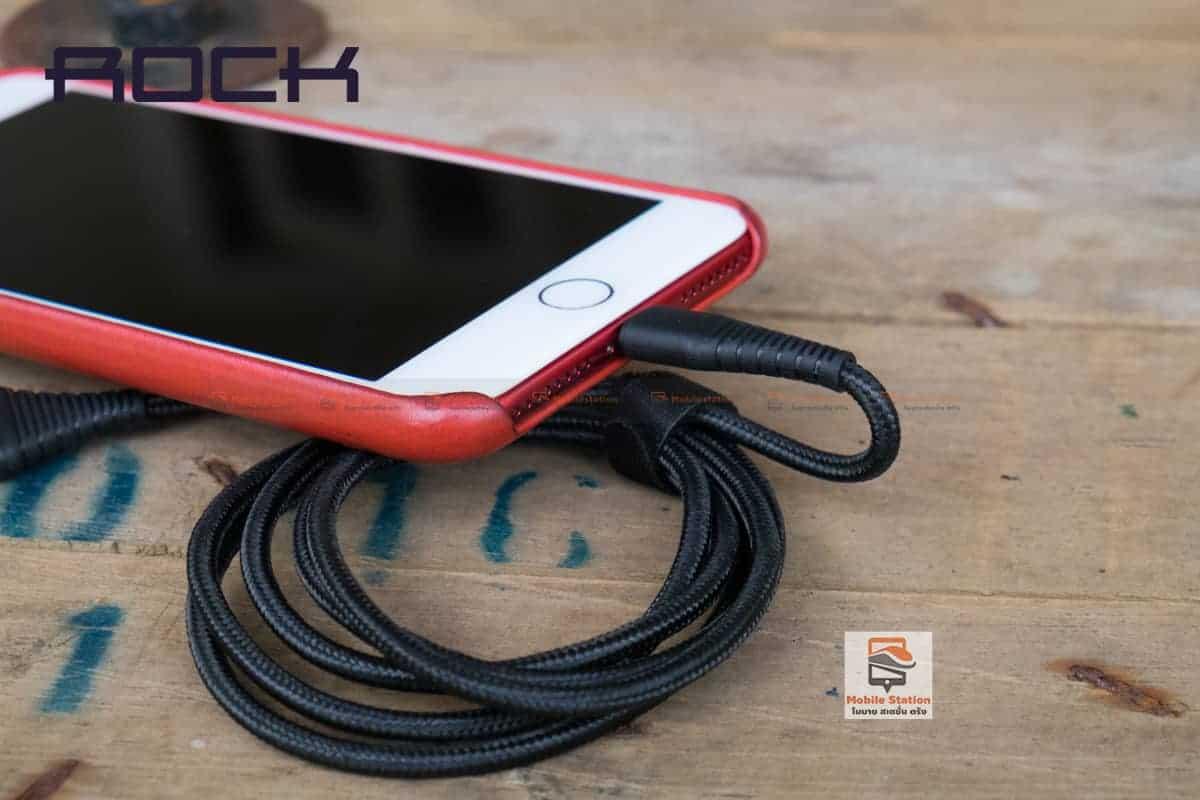 สายชาร์จไอโฟน ROCK 2.1A Hi-Tensile Data Sync USB Cable for iPhone X, 8, 8 Plus, 7, 7 Plus, 6s, 6s,5 รูปสินค้าจริง 12