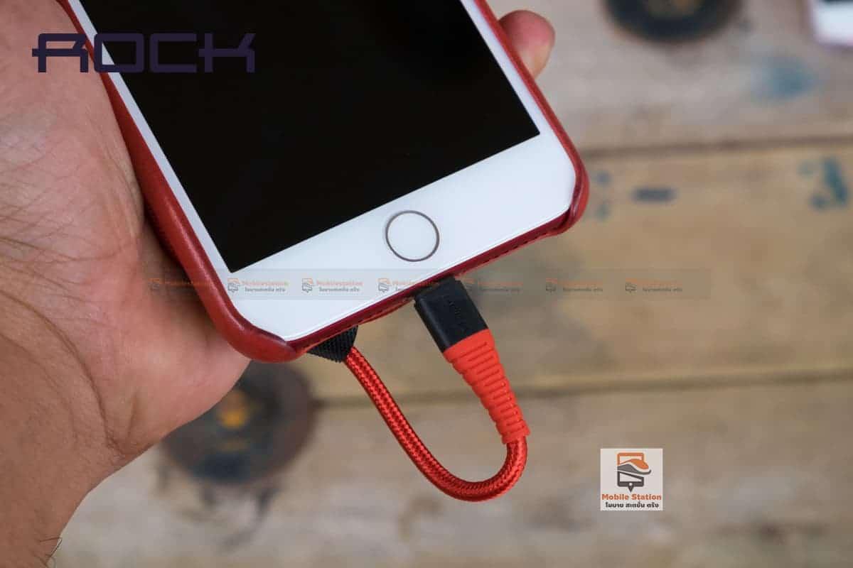 สายชาร์จไอโฟน ROCK 2.1A Hi-Tensile Data Sync USB Cable for iPhone X, 8, 8 Plus, 7, 7 Plus, 6s, 6s,5 รูปสินค้าจริง 13