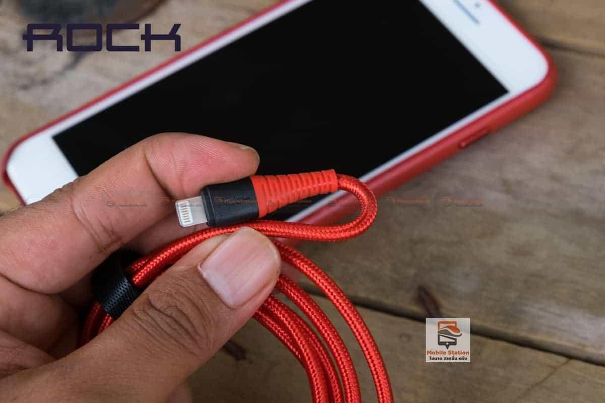 สายชาร์จไอโฟน ROCK 2.1A Hi-Tensile Data Sync USB Cable for iPhone X, 8, 8 Plus, 7, 7 Plus, 6s, 6s,5 รูปสินค้าจริง 14