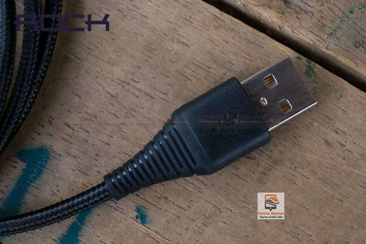 สายชาร์จไอโฟน ROCK 2.1A Hi-Tensile Data Sync USB Cable for iPhone X, 8, 8 Plus, 7, 7 Plus, 6s, 6s,5 รูปสินค้าจริง 3