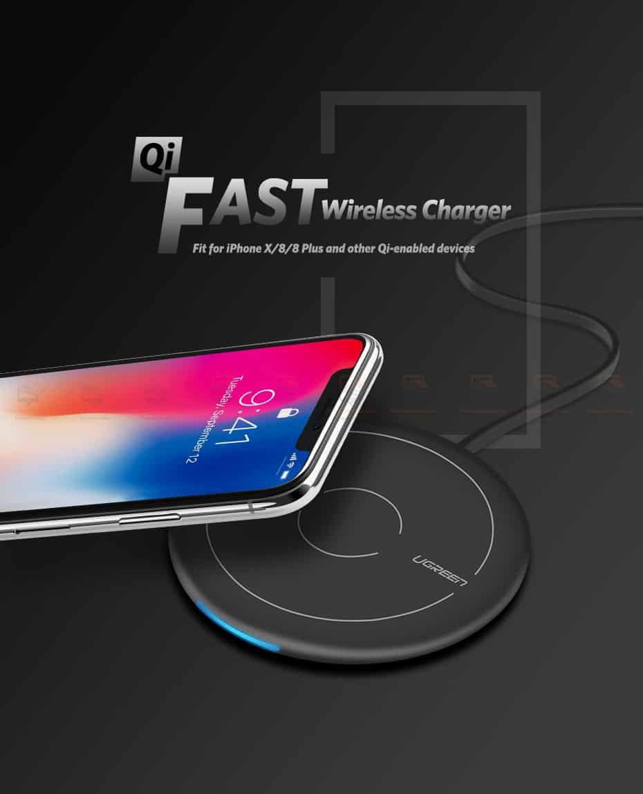 ที่ชาร์จไร้สาย Ugreen Wireless Charger for iPhone 8-X -8 Plus 10W Qi Fast Wireless Charging for Samsung Galaxy S8S-1