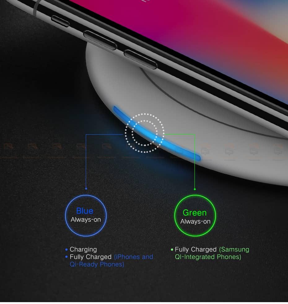 ที่ชาร์จไร้สาย Ugreen Wireless Charger for iPhone 8-X -8 Plus 10W Qi Fast Wireless Charging for Samsung Galaxy S8S-10