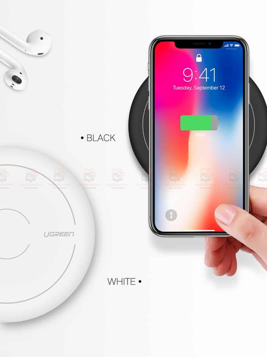 ที่ชาร์จไร้สาย Ugreen Wireless Charger for iPhone 8-X -8 Plus 10W Qi Fast Wireless Charging for Samsung Galaxy S8S-12