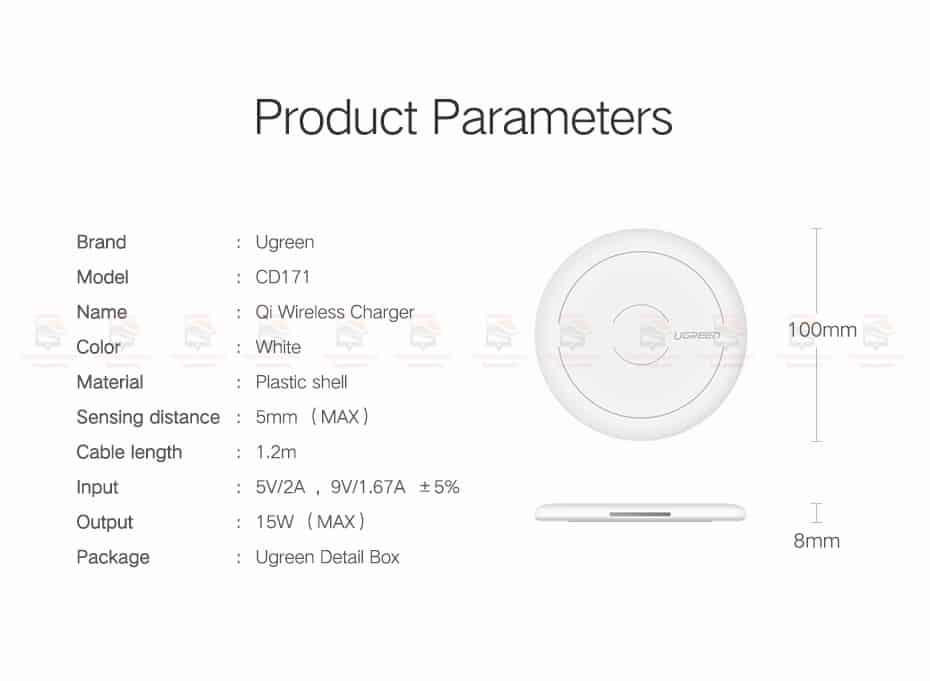 ที่ชาร์จไร้สาย Ugreen Wireless Charger for iPhone 8-X -8 Plus 10W Qi Fast Wireless Charging for Samsung Galaxy S8S-13