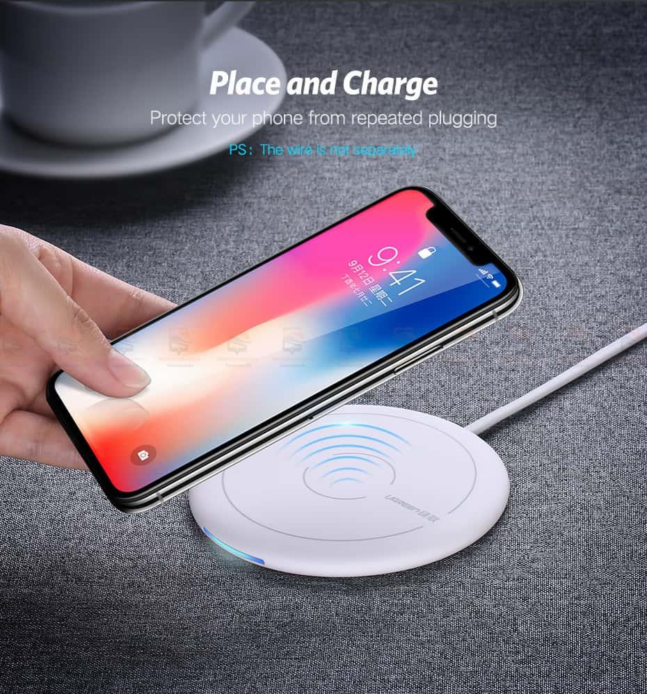 ที่ชาร์จไร้สาย Ugreen Wireless Charger for iPhone 8-X -8 Plus 10W Qi Fast Wireless Charging for Samsung Galaxy S8S-2
