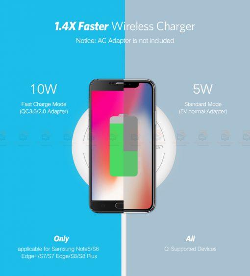 ที่ชาร์จไร้สาย Ugreen Wireless Charger for iPhone 8-X -8 Plus 10W Qi Fast Wireless Charging for Samsung Galaxy S8S-5