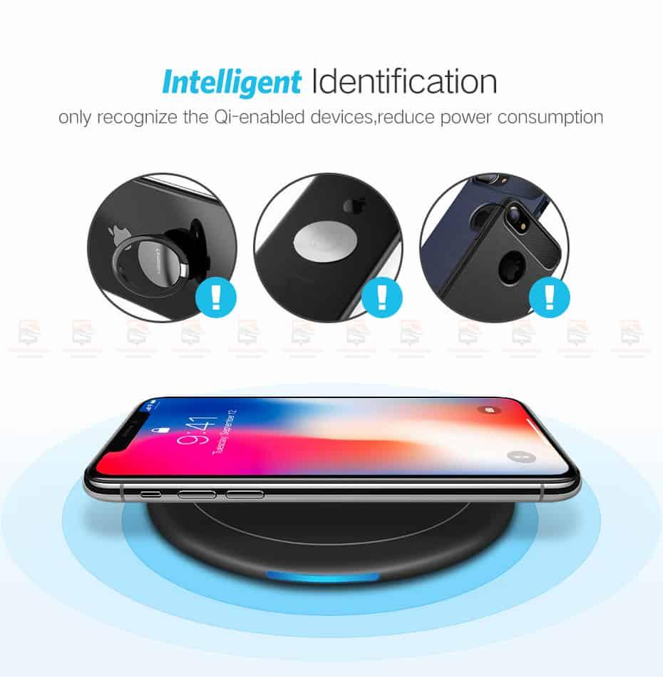 ที่ชาร์จไร้สาย Ugreen Wireless Charger for iPhone 8-X -8 Plus 10W Qi Fast Wireless Charging for Samsung Galaxy S8S-8