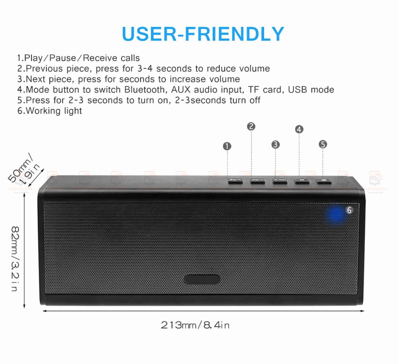 ลำโพงบลูทูธ 20W HIFI Wireless Stereo Super Bass Metal Bluetooth Speaker Detail-9