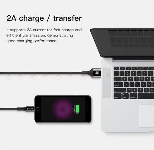 สายชาร์จไอโฟน Baseus LED Lighting USB Cable For iPhone X 8 6 7 Fast Charging Cable-11