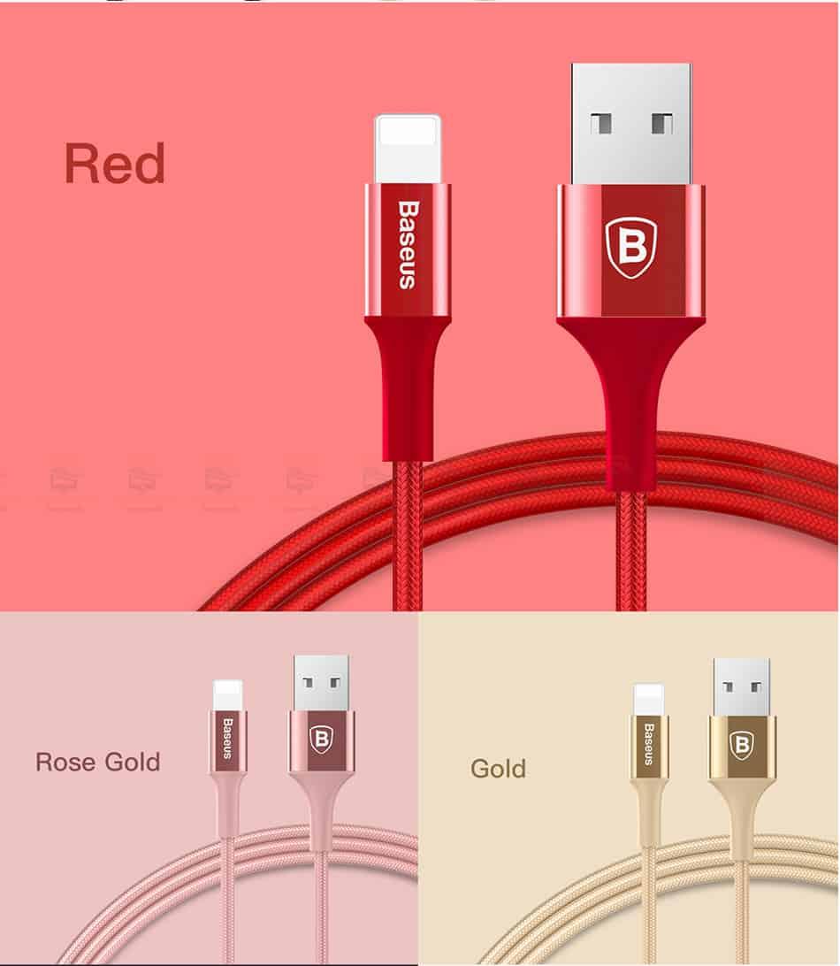 สายชาร์จไอโฟน Baseus LED Lighting USB Cable For iPhone X 8 6 7 Fast Charging Cable-13