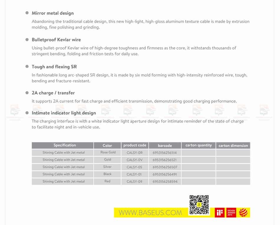 สายชาร์จไอโฟน Baseus LED Lighting USB Cable For iPhone X 8 6 7 Fast Charging Cable-19