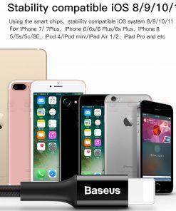 สายชาร์จไอโฟน Baseus LED Lighting USB Cable For iPhone X 8 6 7 Fast Charging Cable
