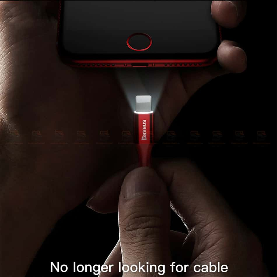 สายชาร์จไอโฟน Baseus LED Lighting USB Cable For iPhone X 8 6 7 Fast Charging Cable-3
