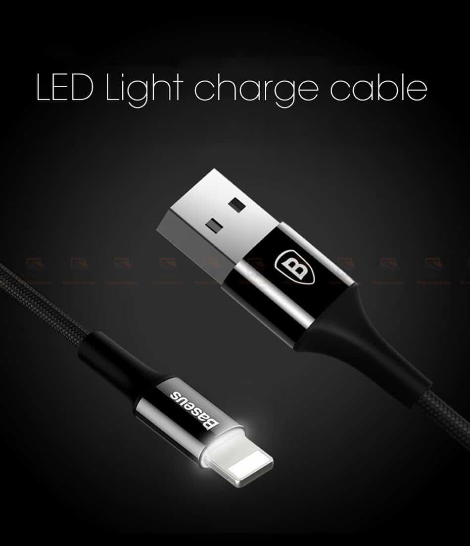 สายชาร์จไอโฟน Baseus LED Lighting USB Cable For iPhone X 8 6 7 Fast Charging Cable-4