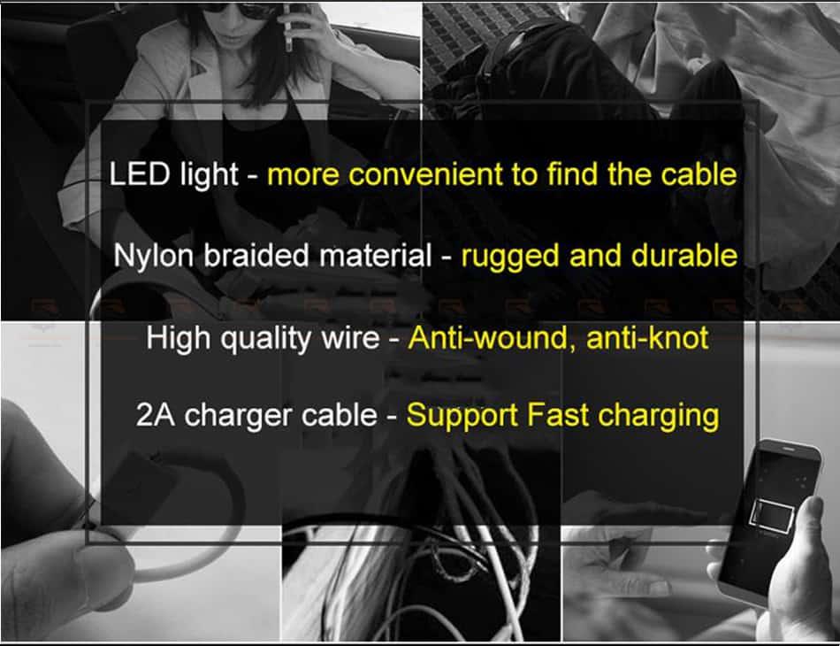 สายชาร์จไอโฟน Baseus LED Lighting USB Cable For iPhone X 8 6 7 Fast Charging Cable-6