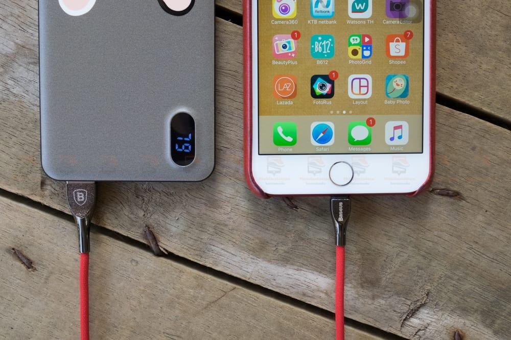สายชาร์จไอโฟน Baseus Zinc Alloy USB Cable For iPhone X 8 7 6 5 Fast Charging Charger Cable 1 เมตร สินค้าจริง-5