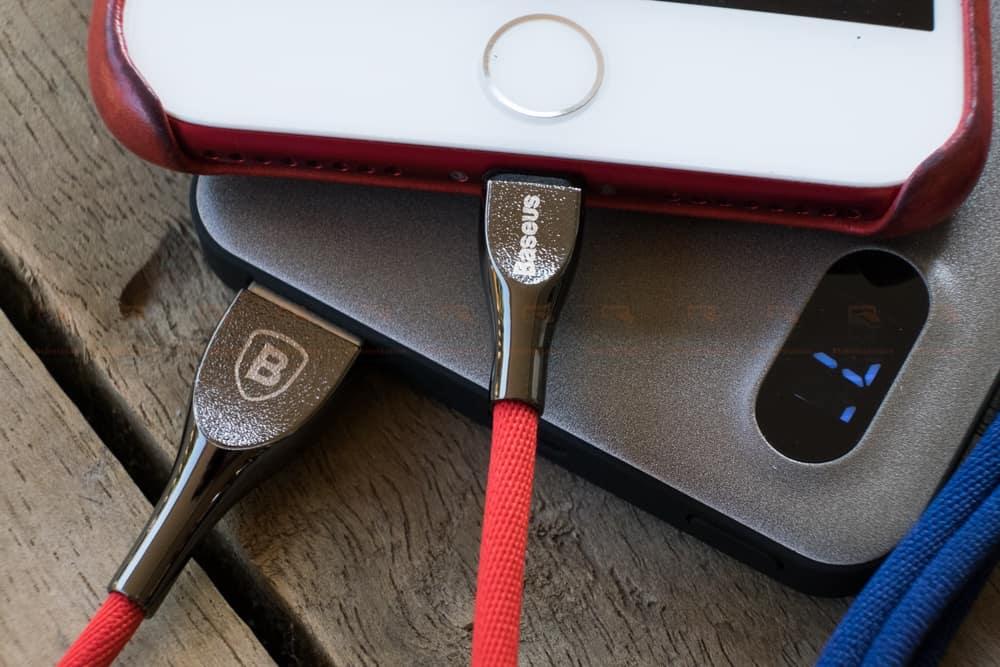 สายชาร์จไอโฟน Baseus Zinc Alloy USB Cable For iPhone X 8 7 6 5 Fast Charging Charger Cable 1 เมตร สินค้าจริง-7
