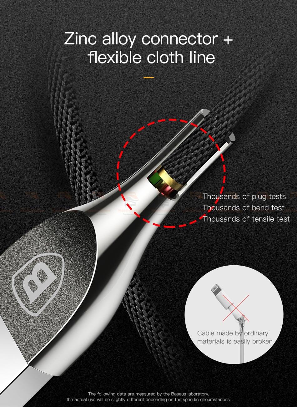 สายชาร์จไอโฟน Baseus Zinc Alloy USB Cable For iPhone X 8 7 6 5 Fast Charging Charger Cable 11