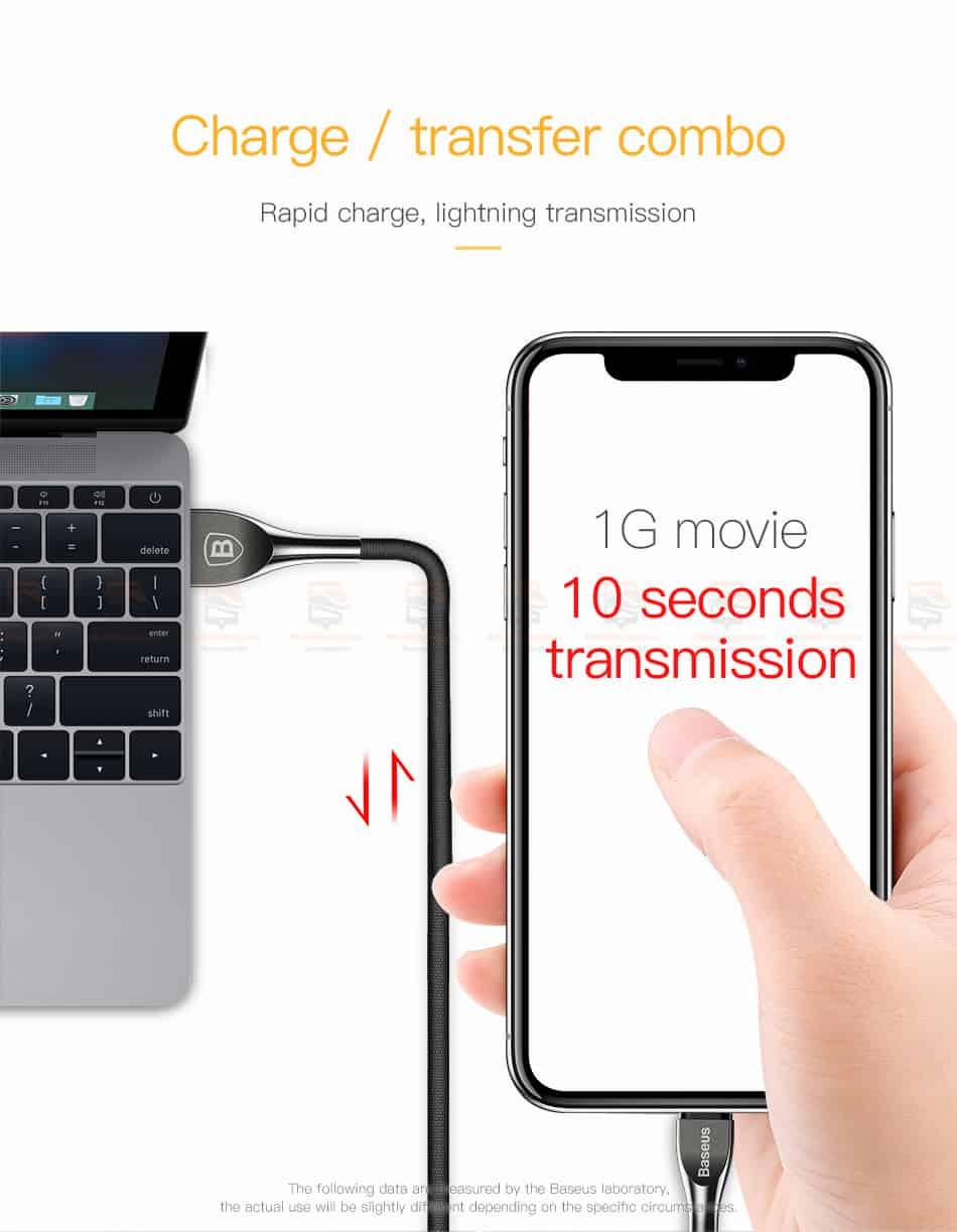 สายชาร์จไอโฟน Baseus Zinc Alloy USB Cable For iPhone X 8 7 6 5 Fast Charging Charger Cable 12