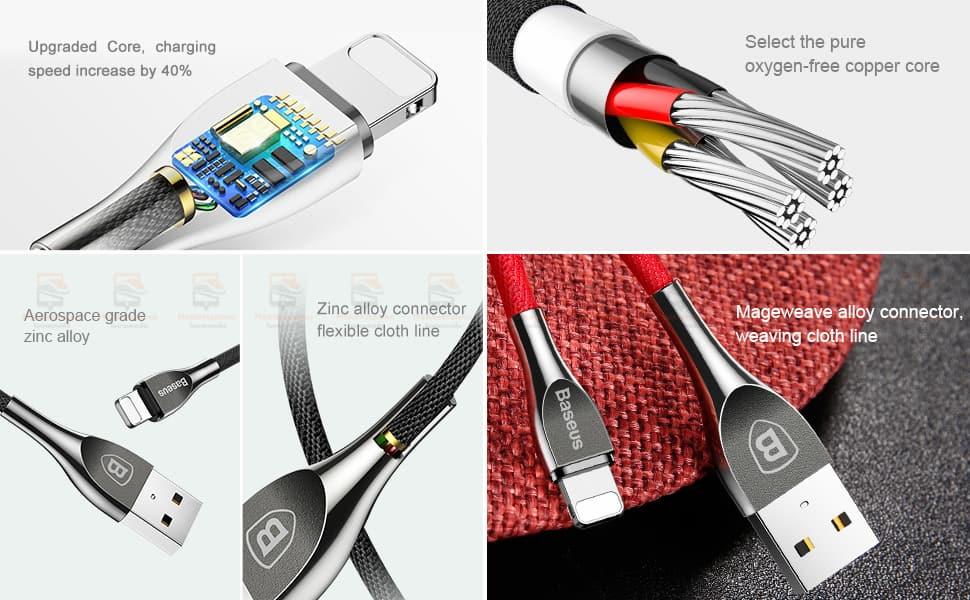 สายชาร์จไอโฟน Baseus Zinc Alloy USB Cable For iPhone X 8 7 6 5 Fast Charging Charger Cable 2