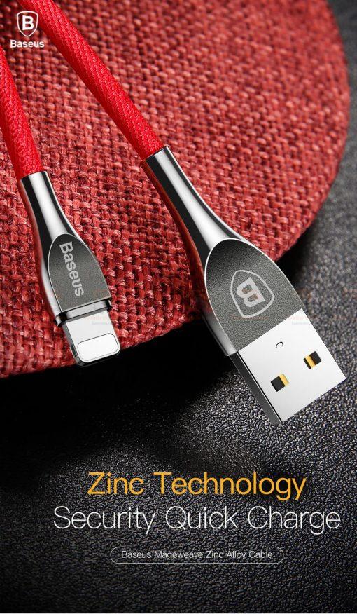 สายชาร์จไอโฟน Baseus Zinc Alloy USB Cable For iPhone X 8 7 6 5 Fast Charging Charger Cable 3