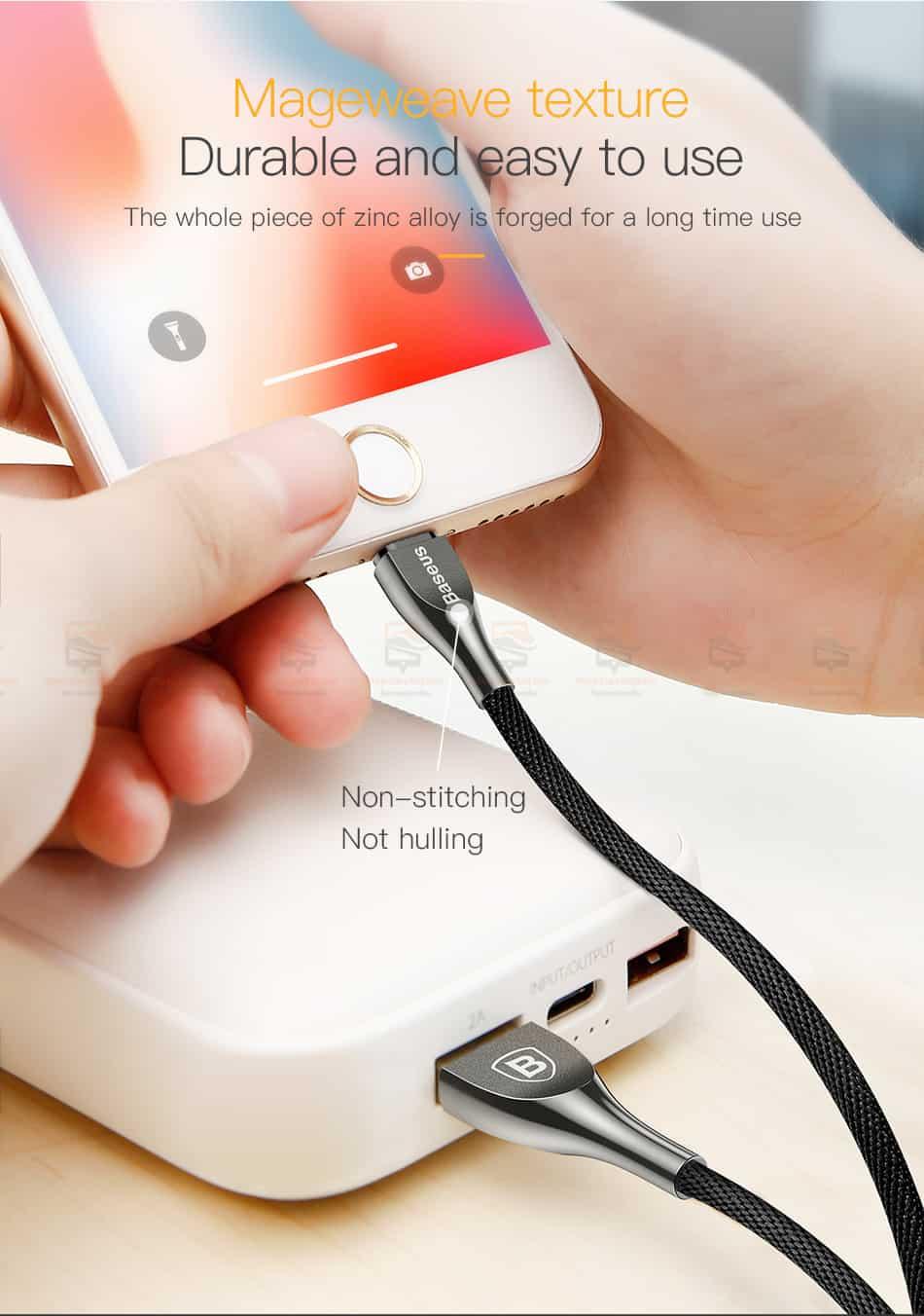 สายชาร์จไอโฟน Baseus Zinc Alloy USB Cable For iPhone X 8 7 6 5 Fast Charging Charger Cable 5