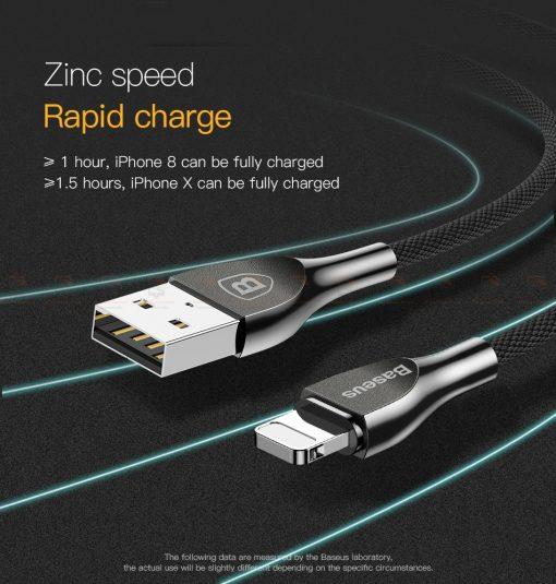 สายชาร์จไอโฟน Baseus Zinc Alloy USB Cable For iPhone X 8 7 6 5 Fast Charging Charger Cable 9