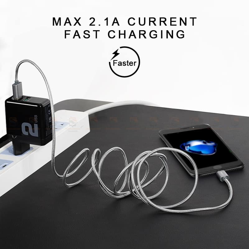 สายชาร์จไอโฟน ROCK For IPhone Cable IOS 11 10 9 For Fast Charger Lighting to USB Cables Charging 2.1A รายละเอียด-3