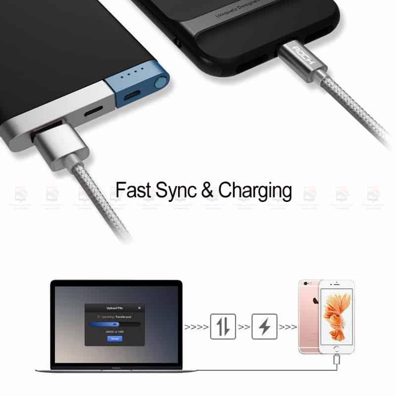 สายชาร์จไอโฟน ROCK For IPhone Cable IOS 11 10 9 For Fast Charger Lighting to USB Cables Charging 2.1A รายละเอียด-5