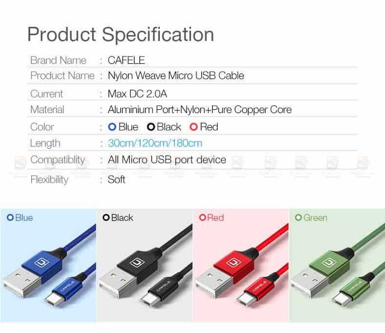 สายชาร์จ Samsung Android Cafele Micro USB Cable Fast Charge_2
