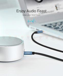 สาย aux Ugreen 3.5mm Jack Audio Cable Gold Plated for iPhone Car Headphone Speaker Auxiliary Cable รายละเอียด-2