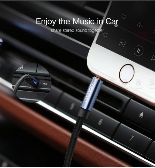 สาย aux Ugreen 3.5mm Jack Audio Cable Gold Plated for iPhone Car Headphone Speaker Auxiliary Cable รายละเอียด-3