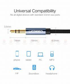 สาย aux Ugreen 3.5mm Jack Audio Cable Gold Plated for iPhone Car Headphone Speaker Auxiliary Cable รายละเอียด-4