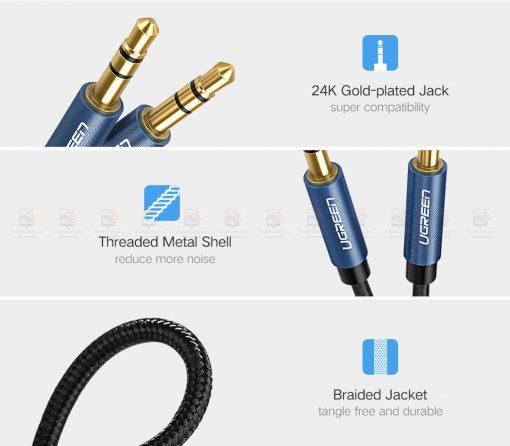 สาย aux Ugreen 3.5mm Jack Audio Cable Gold Plated for iPhone Car Headphone Speaker Auxiliary Cable รายละเอียด-8