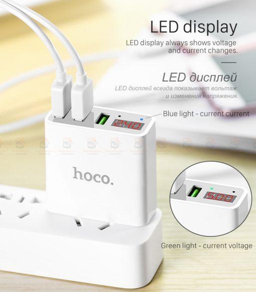 ที่ชาร์จแบต HOCO 5V 3A 3 Ports USB Fast Charging Charger LED display Adapter For iPhone Samsung-10