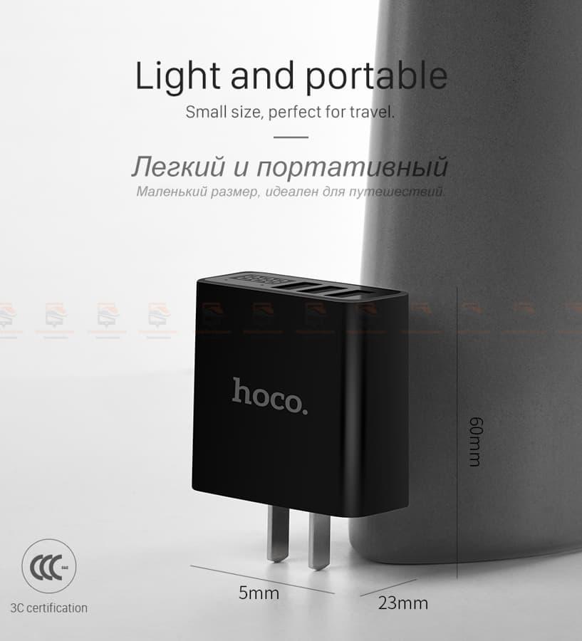 ที่ชาร์จแบต HOCO 5V 3A 3 Ports USB Fast Charging Charger LED display Adapter For iPhone Samsung-11