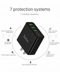 ที่ชาร์จแบต HOCO C15 5V 3A 3 Ports USB Fast Charging Charger LED display Adapter For iPhone Samsung-13
